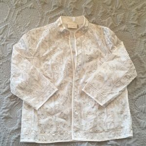 Cotton jacket silvery embroidery Chico's Size 1